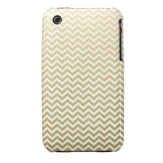 Gold Foil White Chevron Pattern iPhone 3 Cases