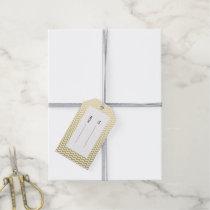 Gold Foil White Chevron Pattern Gift Tags