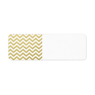 Gold Foil White Chevron Pattern Return Address Label
