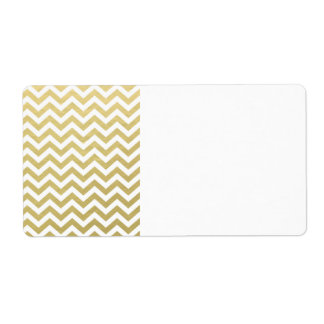 Gold Foil White Chevron Pattern Personalized Shipping Labels