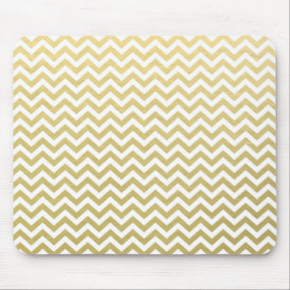 Gold Foil White Chevron Pattern Mouse Pad