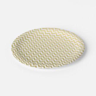 Gold Foil White Chevron Pattern Paper Plate