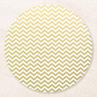 Gold Foil White Chevron Pattern Round Paper Coaster