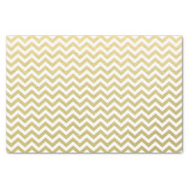 Gold Foil White Chevron Pattern Tissue Paper