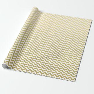 Gold Foil White Chevron Pattern Wrapping Paper
