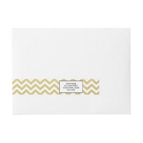 Gold Foil White Chevron Pattern Wraparound Address Label