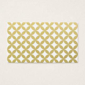 Gold Foil White Diamond Circle Pattern Business Card