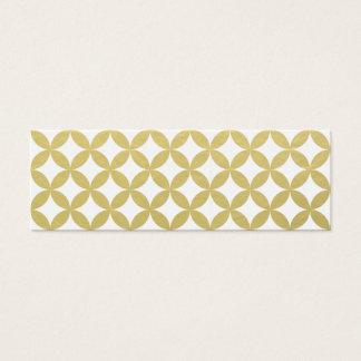 Gold Foil White Diamond Circle Pattern Mini Business Card
