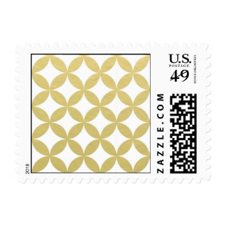 Gold Foil White Diamond Circle Pattern Postage Stamp
