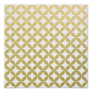 Gold Foil White Diamond Circle Pattern Poster