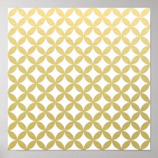 Gold Foil White Diamond Circle Pattern Poster