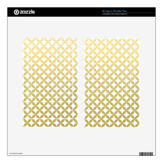Gold Foil White Diamond Circle Pattern Decals For Kindle Fire