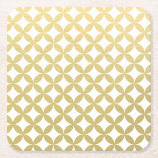 Gold Foil White Diamond Circle Pattern Square Paper Coaster