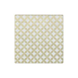 Gold Foil White Diamond Circle Pattern Stone Magnet