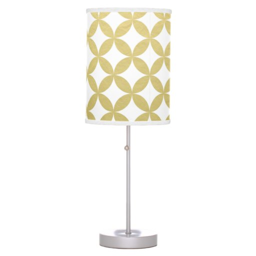 gold foil white diamond circle pattern table lamp zazzle. Black Bedroom Furniture Sets. Home Design Ideas