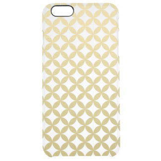 Gold Foil White Diamond Circle Pattern Uncommon Clearly™ Deflector iPhone 6 Plus Case