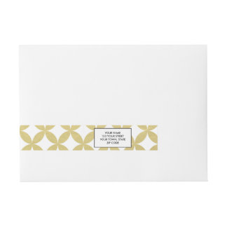Gold Foil White Diamond Circle Pattern Wrap Around Address Label