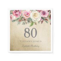 Gold Foil White Pink Rose 80th Birthday Paper Napkin