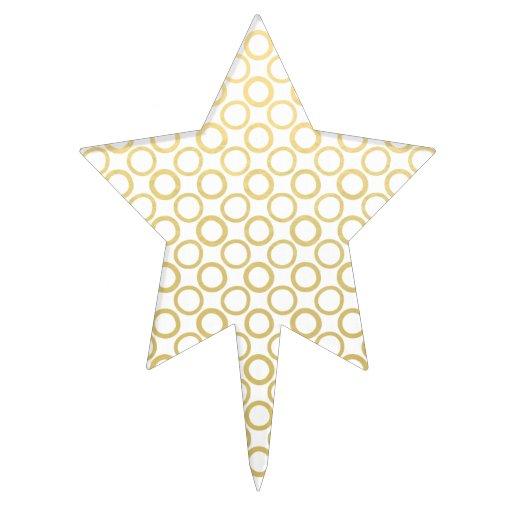 Gold Foil White Polka Dots Pattern Cake Picks
