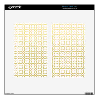 Gold Foil White Polka Dots Pattern Kindle Fire Skin