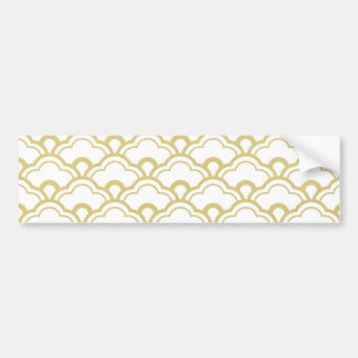Gold Foil White Scalloped Shells Pattern Bumper Stickers