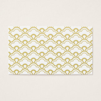 Gold Foil White Scalloped Shells Pattern Business Card