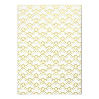 Gold Foil White Scalloped Shells Pattern Card