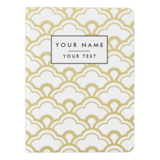 Gold Foil White Scalloped Shells Pattern Extra Large Moleskine Notebook Cover With Notebook