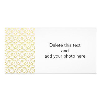 Gold Foil White Scalloped Shells Pattern Photo Card Template