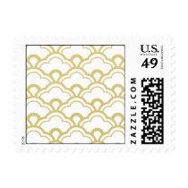 Gold Foil White Scalloped Shells Pattern Postage