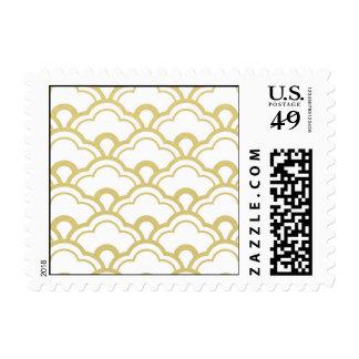 Gold Foil White Scalloped Shells Pattern Stamp