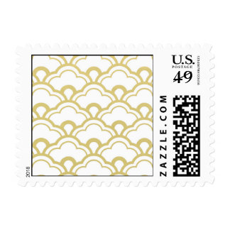 Gold Foil White Scalloped Shells Pattern Postage Stamp