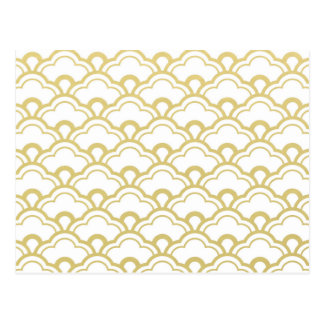 Gold Foil White Scalloped Shells Pattern Postcard