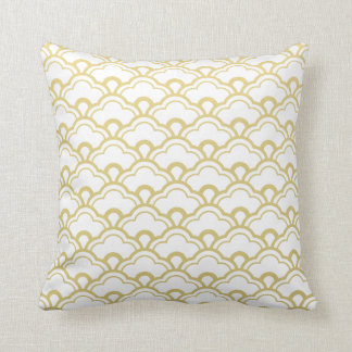 Gold Foil White Scalloped Shells Pattern Throw Pillow