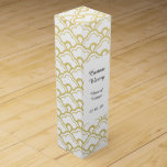 """Gold Foil White Scalloped Shells Pattern Wine Gift Box<br><div class=""""desc"""">Trendy Elegant Printed Gold Foil and White Scalloped Shells Pattern - Gold and black half shell pattern (gold foil is a printed photo effect). Use to create your own one of a kind gift by personalizing it with your name, monogram, text or photo or leave as. Other colors and styles...</div>"""