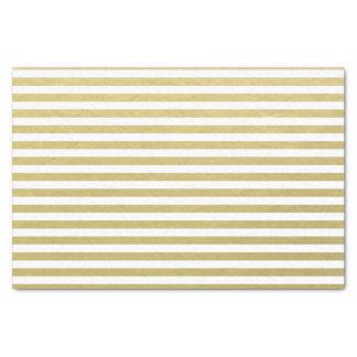 """Gold Foil White Stripes Pattern 10"""" X 15"""" Tissue Paper"""