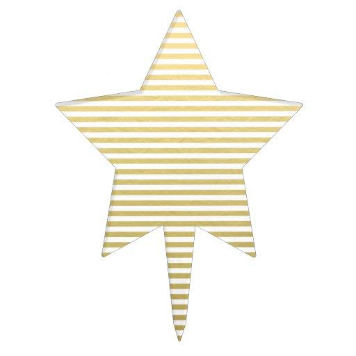 Gold Foil White Stripes Pattern Cake Topper