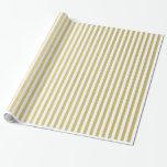 Gold Foil White Stripes Pattern Gift Wrap Paper