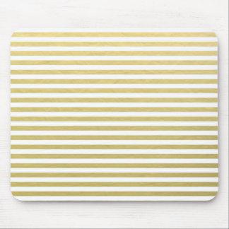 Gold Foil White Stripes Pattern Mouse Pad