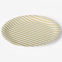Gold Foil White Stripes Pattern Paper Plate