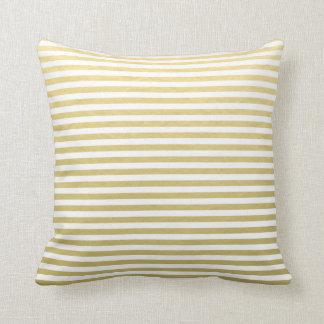Gold Foil White Stripes Pattern Pillows