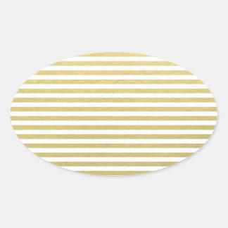 Gold Foil White Stripes Pattern Oval Sticker