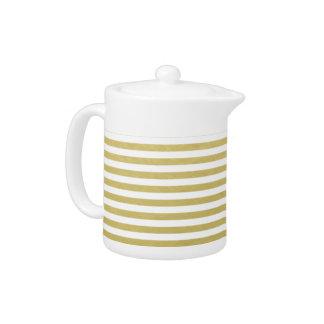 Gold Foil White Stripes Pattern