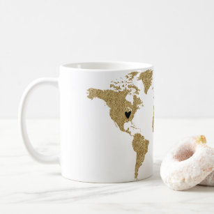 Modern world map coffee travel mugs zazzle gold foil world map custom moveable heart location coffee mug gumiabroncs Image collections