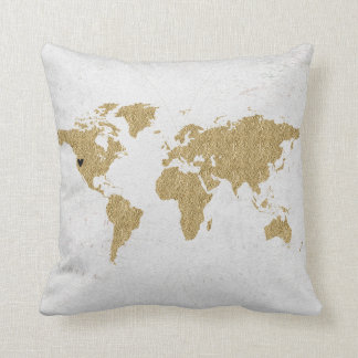Gold Foil World Map Custom Moveable Heart Location Throw Pillow
