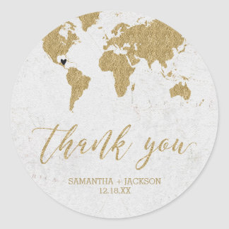 Gold Foil World Map Destination Monogram Wedding Classic Round Sticker