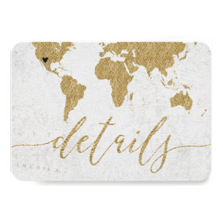 Gold Foil World Map Destination Wedding Details Card
