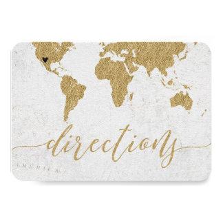 Gold Foil World Map Destination Wedding Directions Card