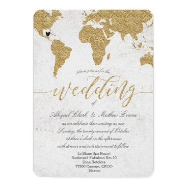 GraphicBrat Gold Foil World Map Destination Wedding Invitation