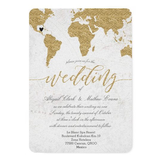 Gold Foil World Map Destination Wedding Invitation Zazzlecom